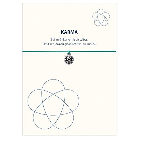 Glücksschmiedin Karma - Armband mit Knoten Anhänger versilbert, elastischem Textilband in türkis und liebevoller Karte: Sei im Einklang mit Dir selbst.