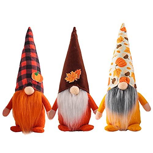 Uniquk 3 Piezas de Gnomo de OtooO MuuEca Sueca Nisse Tomte Sin Rostro Regalo del DíA de AccióN de Gracias de Elfo Enano Decoraciones de Bandejas Escalonadas de Granja