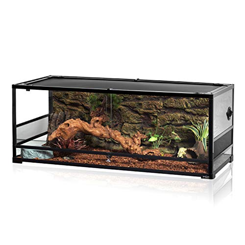 REPTI ZOO 67Gallon Reptile Large Terrarium Upgrade Glass Front Opening Tank Sliding Door with Screen...
