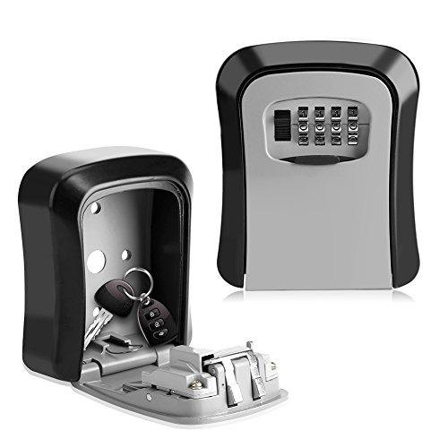 EBTOOLS Sleutelsafe, aluminiumlegering, wandmontage, sleutelbox, cijfercode, kluis, met 4-cijferige cijfers, voor thuis, kantoor en garages, 11,5 x 9,5 x 3,8 cm