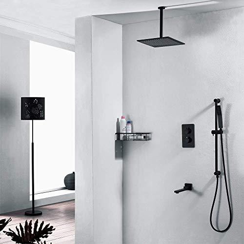 BINGFANG-W Ducha oculta Negro de función triple de cobre Tipo de suspensión de 250 mm superior cuadrada spray grifo de la ducha termostática Hermosa práctica Ducha