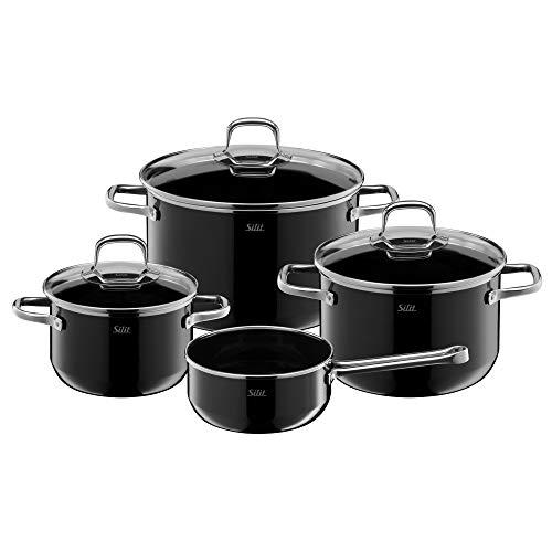 Silit Elegance Line - Batería de cocina de inducción, 4 piezas, juego de ollas con tapa de cristal, cerámica Silargan, juego de ollas de inducción sin níquel
