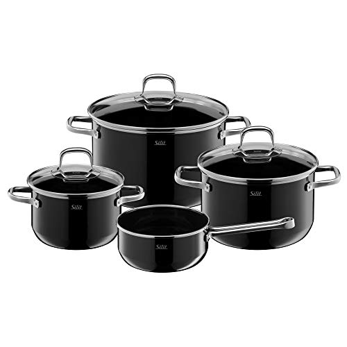 Silit Elegance Line Lot de 4 casseroles en céramique fonctionnelle Silargan avec couvercles en verre et couvercles à induction Passe au four
