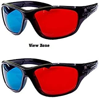 3D Vision Anaglyph Glasses Projector Use TV Video Movie DVD Games Glasses Red and Blue Colour Set of 5 Pieces by View zone