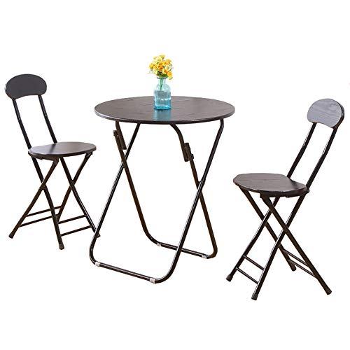 Houten ronde opvouwbare keuken eettafel stoel set van 3 tuin zwart koffie & thee & computer Bureau, (1 tafel+2 stoelen)