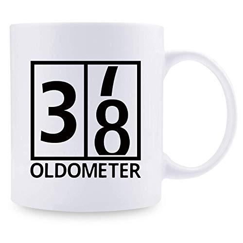 38. Geburtstagsgeschenke für Männer - 1981 Geburtstagsgeschenke für Männer, 38 Jahre alte Geburtstagsgeschenke Kaffeetasse für Vater, Ehemann, Freund, Bruder, Ihn, Kollege, Mitarbeiter, Oldometer-Tass