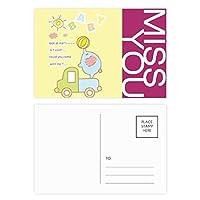 赤ちゃん象のトラックボールの漫画の動物 ポストカードセットサンクスカード郵送側20個ミス