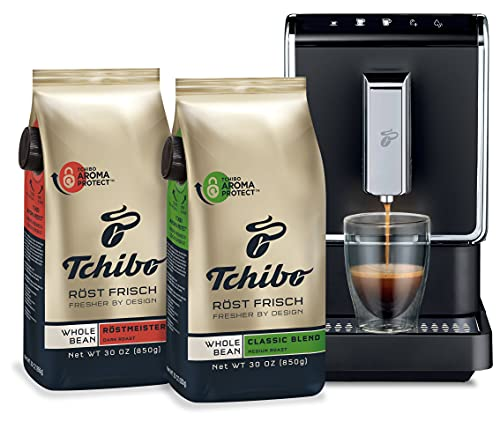 Tchibo Fully Automatic Coffee Machine Bundle, with Two Whole Bean Coffee, 30 Ounce Bags - Revolutionary Single-Serve, Bean-To-Brew Coffee Maker - No Pods, No Waste