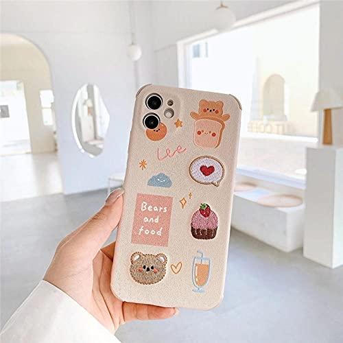 Carcasa de teléfono con Bordado de Animales de Dibujos Animados para iPhone Funda Trasera de TPU Suave a Prueba de Golpes para iPhone 12 11 Pro MAX XR X MAX 7 8 Plus se2 para iPhone 12 1