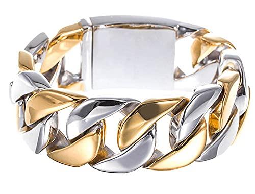 CHXISHOP Pulsera Ancha de Chapado en Oro de Acero de Titanio Entre Joyas de Acero Inoxidable de Oro Pulsera de Cadena de Acero Inoxidable de Acero Inoxidable Masculino