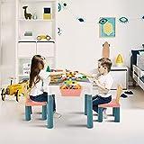 Frifer Mesa de juegos multifunción 6 en 1 para niños, extraíble, con 2 sillas, 4 cajas de almacenamiento, 83 bloques de colores, tamaño grande (tamaño: 51 x 51 x 42,5 cm)