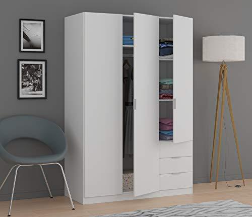 Dmora Armadio Ante e Tre cassetti con Ripiani e Barra Appendiabiti Colore Bianco, Misure in cm 121 x 51 x h180