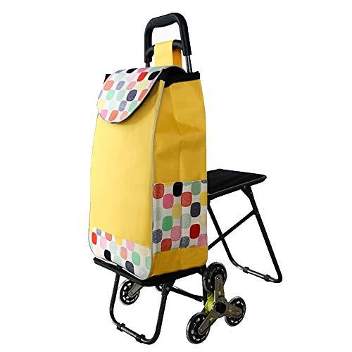 LHOME Einkaufswagen mit umklappbarem Sitz und Einkaufswagen Superleichte Mobilitätstasche Große Kapazität Einkaufskorbträger Tragbare Räder Gepunktetes PVC (Farbe : Style C)