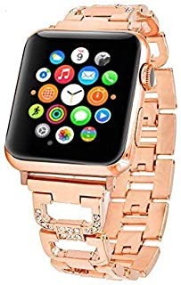 Bling Bands Compatible Apple Watch Band 38mm 42mm Stainless Steel Metal Replacement Wristband Sport Strap Iwatch Nike+, Series 3, Series 2, Series 1, Sport, Edition, 2 Colors (Gold, 38mm)