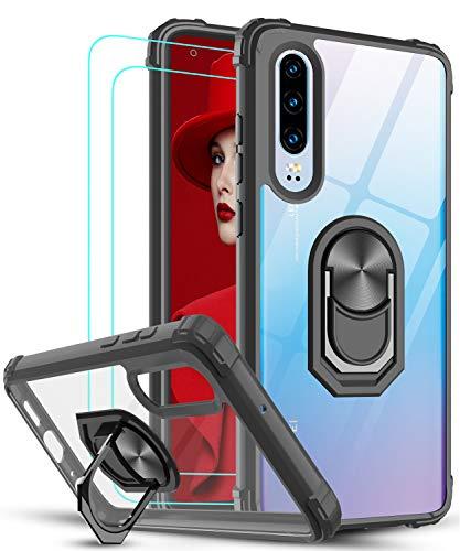 LeYi Funda Huawei P30 con [2-Unidades] Cristal Vidrio Templado,Transparente Carcasa con 360 Grados iman Soporte Silicona Bumper Antigolpes Armor Case para Movil P30,Clear Negro