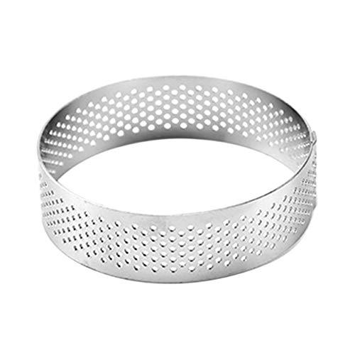 Yehapp anillo de pastel anillo de pastel anillo de pastel redondo ovalado perforado de acero inoxidable (6 cm / 7 cm / 8 cm / 10 cm / 15 cm / 20 cm)