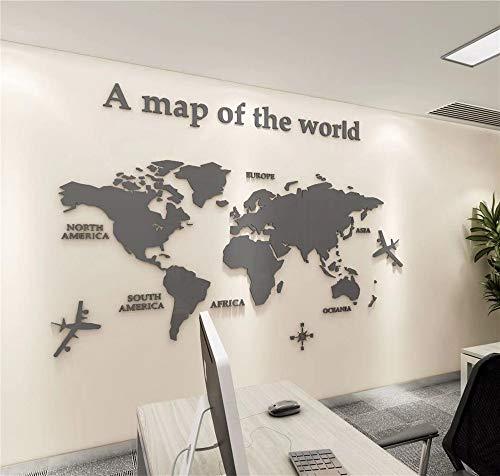 VIDOO Carte Wall Sticker 3D Acrylique en Trois Dimensions Autocollants Mur Imperméables pour Office Canapé TV Fond Mur Décoratif- Gris Clair