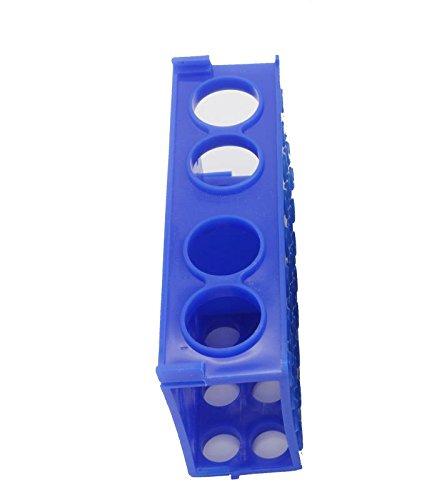 Soporte de plástico para tubos de ensayo, 4 lados, azul, 1