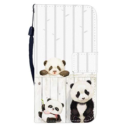Sunrive Hülle Für Wiko U Feel Lite, Magnetisch Schaltfläche Ledertasche Schutzhülle Etui Leder Case Cover Handyhülle Tasche Schalen Lederhülle MEHRWEG(W8 Panda)