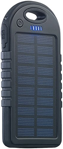 reVolt Solar Ladegeräte: Solar-Powerbank mit 4.000 mAh & Taschenlampe, 2X USB, bis 2 A, 10 Watt (Solar Bank)