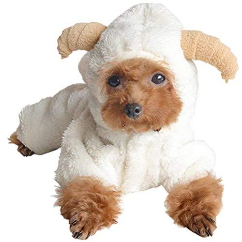 AOFITEE Süße Cartoon Schaf Kaninchen Form Halloween Cosplay Kostüm Winter Warm Fleece Kleine Haustier Hoodies Mäntel Hund Katze kaltes Wetter Weicher bequemer Overall Pyjama