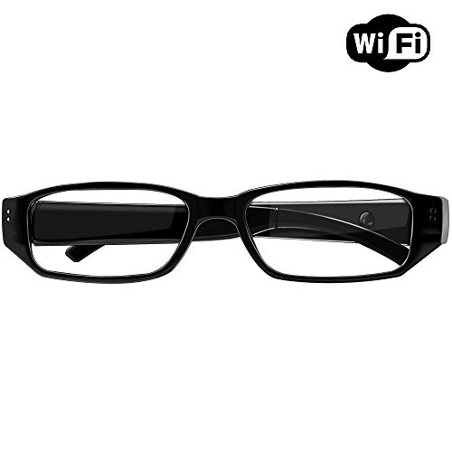 1080P Wireless WiFi Eyeglasses with Mini Camera- Indoor Outdoor Hidden Camera/Nanny Cam for iPhone/Android Phone/iPad/PC with Motion Detection