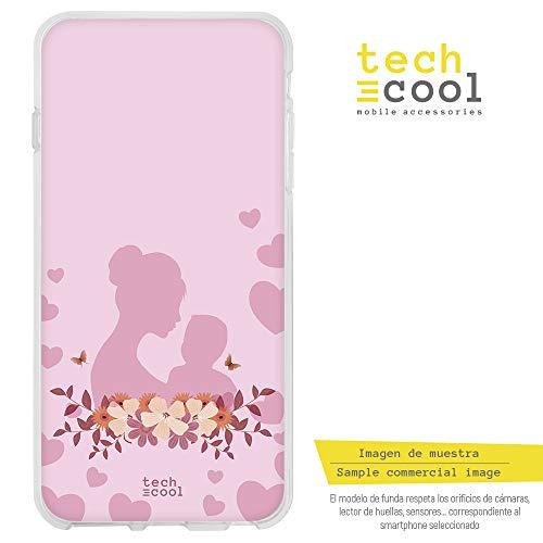 Funnytech® Funda Silicona para iPhone 5 / 5S / SE [Gel Silicona Flexible, Diseño Exclusivo] Dia de la Madre Fondo Corazones