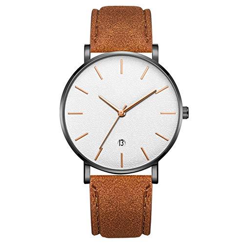 GJHBFUK Mire El Reloj De Pulsera De Cuarzo De Marcación Redonda De Moda (cinturón De Café, Caja Negra, Espejo Blanco, Aguja De Oro Rosa)
