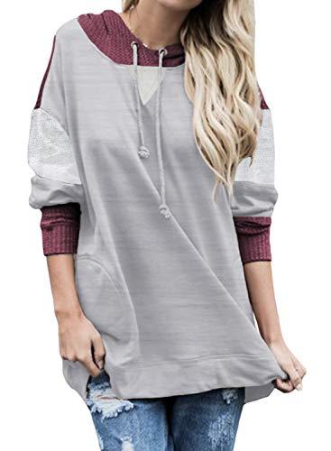 Sudadera con capucha con cordón en contraste para mujer