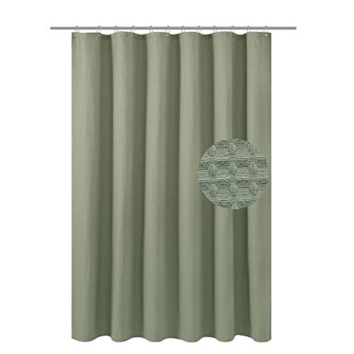 Waffle Weave Fabric Shower Curtain Heavyweight 230 GSM, Hotel Luxury, Machine Washable, Sage Green Pique Diamond Pattern, 71 x 72 inches Decorative Bathroom Curtains