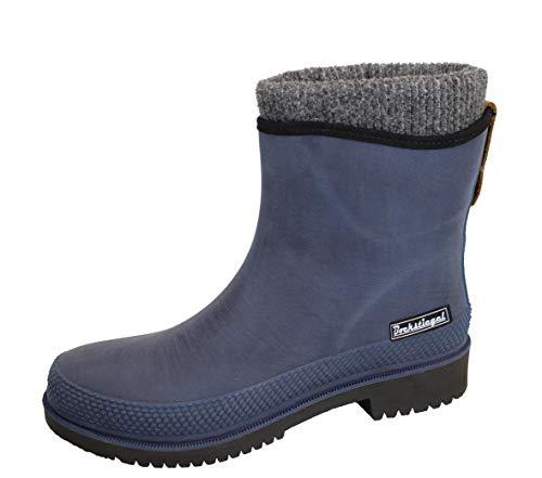 Regenliebe Botas de goma para mujer Pfützenqueen W forradas cálidas de caña corta, color Azul, talla 42 EU