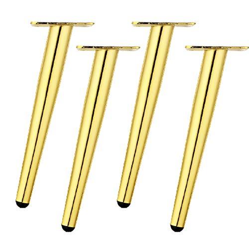 4 Piezas Metal Patas de Muebles,Patas de Mesa de Cono Oblicuo,Hierro Pies de Cama,Tubo Redondo Patas de Sofá,Pies de Gabinete,para Muebles de Bricolaje,Antideslizantes(gold60cm/23.6in)