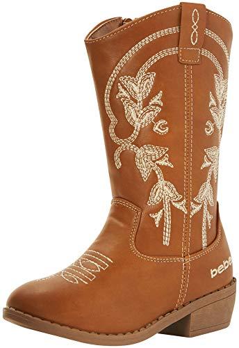 bebe Girls' Western Cowboy Boot with Easy Side Zipper (Toddler/Little Kid/Big Kid), Size 13, Cognac