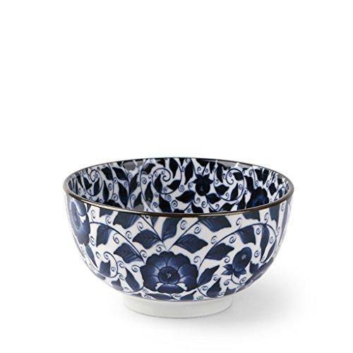 JIANMING Bol Mino Burn Japon importé bleu et blanc vaisselle en porcelaine bol de nouilles de boeuf ménage ramen japonais bol 6 pouces grande soupe bol (Couleur : E)