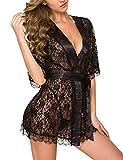 HTRP Corsés para Mujer Erotic Leather WomenErotic Sleepwear & Robe Sets Lencería Sexy Sexy Deep V Lace Vendaje Robe-Black_M