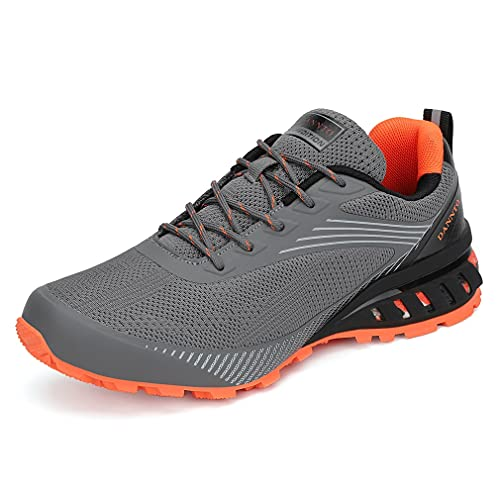 DANNTO Laufschuhe Herren Sneakers Turnschuhe Sportschuhe Straßenlaufschuhe(grau,43)