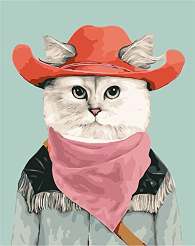 DIY Paint by Numbers Kits, Amiiba Cowboy Cat 16x20 inch Acrylic Painting by Number Wall Art Crafts (Cat, with Frame)