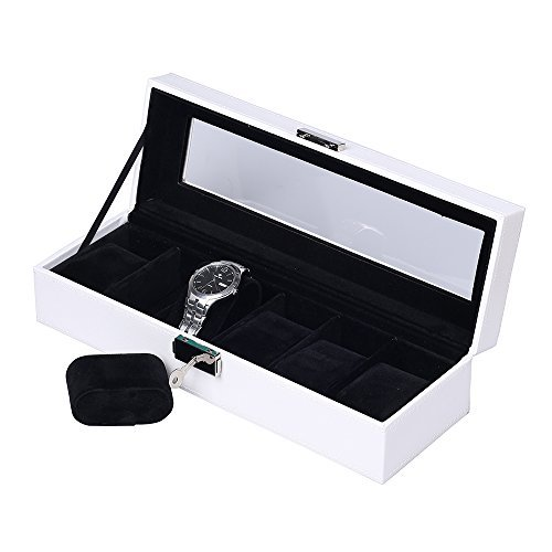 JKC Uhrenkoffer für 6 Uhren, Uhrenbox Kunstleder,Edle Uhrenbox Uhrenkoffer Uhrenkasten mit Sichtfenster,Kissen, Schloss