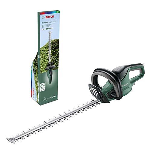 Bosch Heckenschere UniversalHedgecut 50 (480 Watt, Messerlänge: 50cm, für mittelgroße Hecken, Messerabstand: 26mm, im Karton)