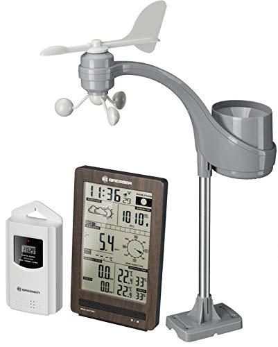 Bresser Wetterstation Funk mit Außensensor ClimaTemp FW Wetter Center in Holzoptik