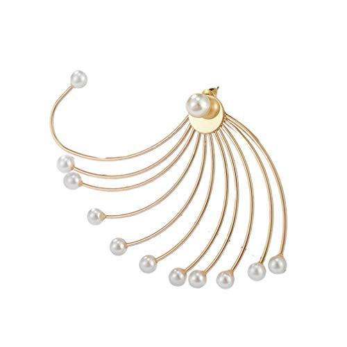 Happyyami Pendientes de Perlas Geométricas Huecas en Forma de Abanico Pendientes de Perlas de Boda de Moda Novia Stud Joyería para Mujeres Niñas