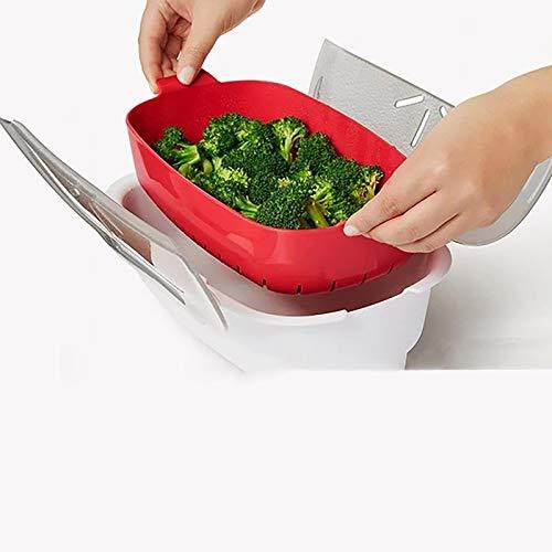 Vaporizador de verduras al vapor para microondas y pescado al vapor, para cocinar al vapor, para preparar comidas, partición desmontable