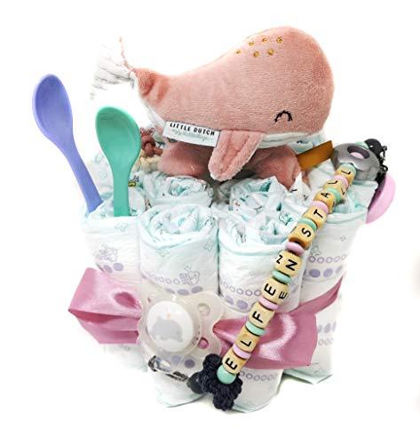 Elfenstall Windeltorte/Pamperstorte mit Schnullerkette/Schnuller und vielen Extras als tolles Geschenk zur Geburt oder Taufe auf Wunsch mit Namen des Babys (Wal rosa)