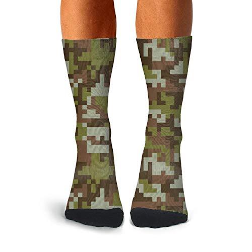 Mens Green Desert Digital Camo Socks Extra Thick Winter Warm Soccer Socks