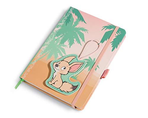 NICI 45277 Notizbuch DIN A5 mit Clip-Motiv Wüstenfuchs Fehmi, pink/beige