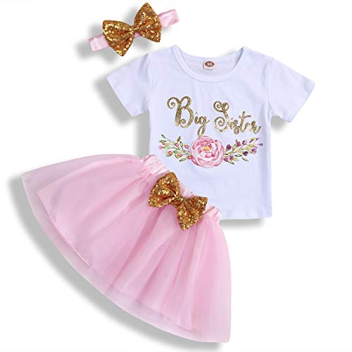Toddler Baby Kid Girls Big Sister Outfits Short Sleeve T-Shirt Top+Tutu Skirt with Headband Clothing Set (Pink, 3-4 Years)