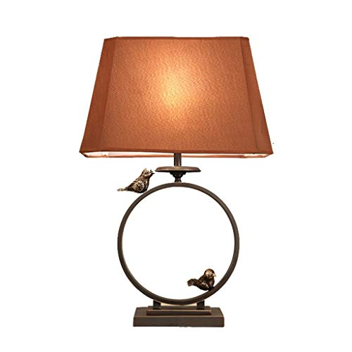 Lfixhssf rode Chinese glazen tafellamp stoffen kap dier bureaulamp decoratieve verlichting woonkamer kantoor Desk leeslamp nachtkastje Lfixhssf (kleur: bruin)