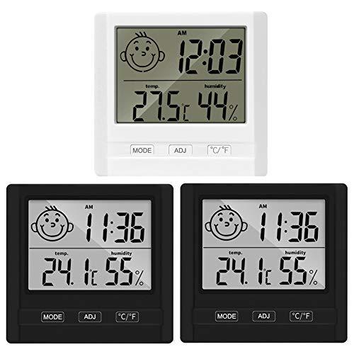 Thermometer Hygrometer, Lyeiaa 3pcs Thermo-Hygrometer Innen, Digital Hohen Genauigkeit Luftfeuchtigkeitsmessgerät Raumthermometer Zimmerthermometer für Raumklimakontrolle, Babyraum, Wohnzimmer, Büro