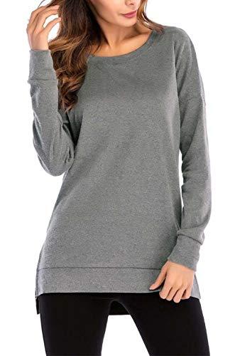 Damen Sweatshirt Hoodie Pullover Oberteile Kapuzenpullover Round Ausschnitt Patchwork Pulli Tunika T-Shirt (Dark Gray, L)