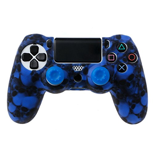 Siwetg - Custodia in silicone per gamepad, motivo con teschio, inclusi 2 copri levette in silicone per i controlli analogici del joystick PS4 Pro Slim